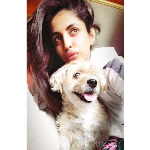 Priya with her pet dog