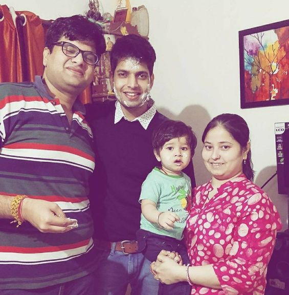 Hitesh Bhardwaj with his brother and his brother's wife