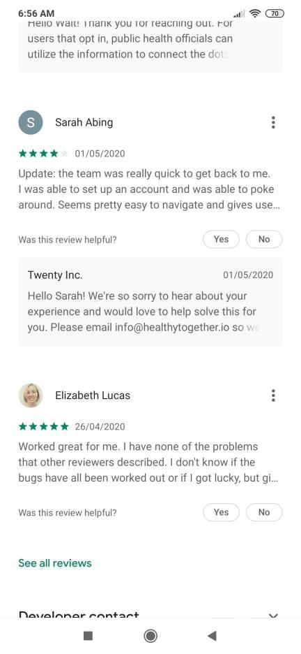 app reviews privacy