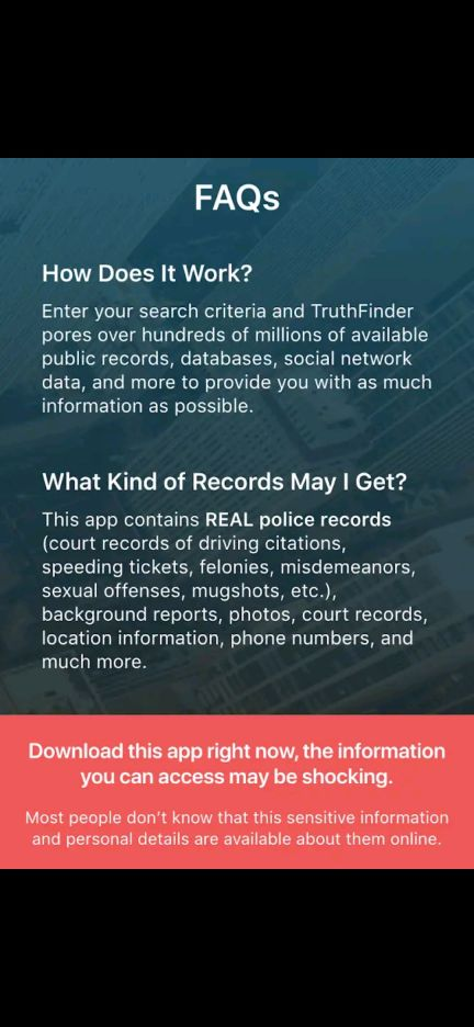 how truth finder premium app works