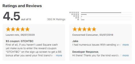 cash app reviews and rating
